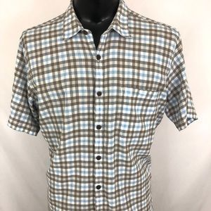 Patagonia Button Up Shirt Gauze Plaid White Blue L